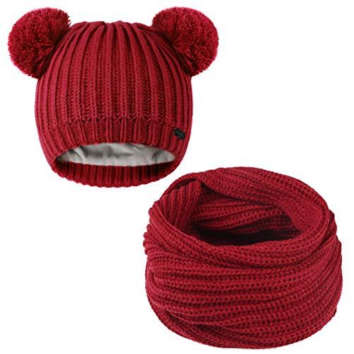 FURTALK Kids Winter Hat Pom Beanie Knit Skull Cap Hats for Children Baby Boys Girls Toddler 1-6 Years (1-6 Years, Hat and Scarf Set-Wine Red)