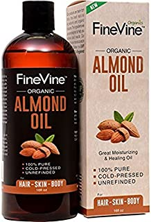100% Pure Almond Oil - 16 oz - For Skin Moisturizer, Wrinkles, Massage, Anti-Aging and Baody Oil - Best Cold Pressed, Organic Carrier Oil