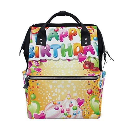 Happy Birthday Balloon - Mochila para pañales, diseño de globo para mamá, papá, viaje, escolar, niña, gran capacidad, para mamá, hombres y mujeres