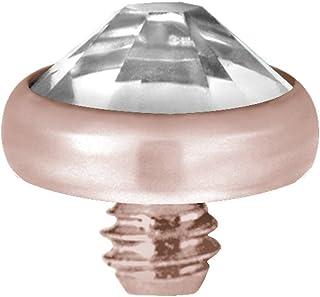 Karisma - Piercing in titanio G23 con micro inserti Swarovski, colore: oro rosa