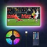 LED TV Hintergrundbeleuchtung, MustWin 3M USB RGBW Beleuchtung für 32-60 Zoll LED Strip Dimmbar mit RF-Ferbedienung 6000K Kaltweiß, 6 Modi SMD 5050 für Fernseher PC Monitor Halloween Weihnachten Deko