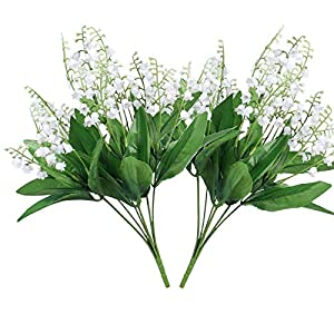 2Pack Artificial Bellflower Flower 7Forks Fake Lily Fower Faux Plants Silk Spring Peach Flowers Bouquets for Home Wedding Decoration Photography Props (White)