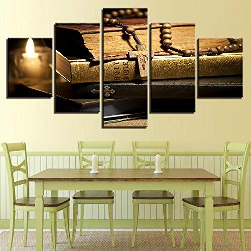 GBxebenYN02 Decoración del hogar Lienzo de Arte estético 5 Paneles Vela de la Biblia y Cruz de Cristo Lienzo Decorativo 5 dormitorios Elegante decoración de Pared 200x100cm