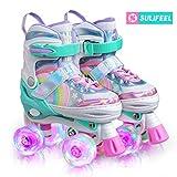 SULIFEEL Rainbow Unicorn 4 Size Adjustable Light up Roller Skates for Girls Boys for Kids - Medium(US 13-3)