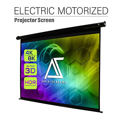 Akia Screens 104 inch Motorized Electric Remote Controlled Drop Down Projector Screen 4:3 8K 4K HD 3D Retractable Ceiling Wall Mount Black Projection Screen Office Home Theater Movie AK-MOTORIZE104V1