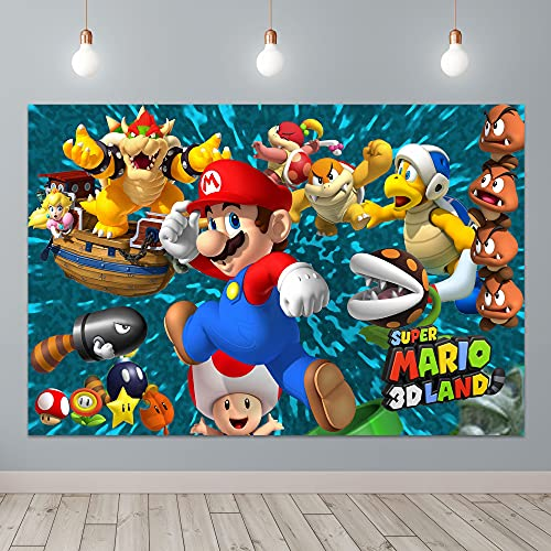 Super-Smash-Bros Pokemon Mario Photography Backdrop for Kids Happy Birthday Party Decoration 5X3ft Photo Background Baby Shower Cake Table Studio Photo Booth Prop Banner