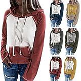 Lomelomme Sudadera con capucha para mujer, diseño de rayas, estilo informal, manga larga, con cordón, con bolsillos, A-verde., S