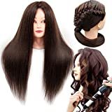Mannequin Head with Real Hair 60% Straight Training Head with Sturdy Clamp and Tools Cosmetology Mannequin Head for Styling Braid Curly Cut Practice Doll Head