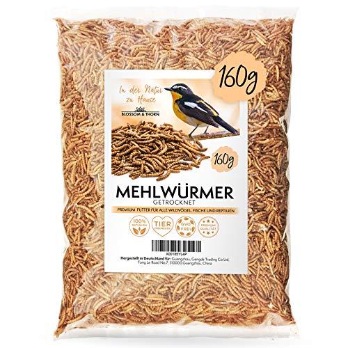 Blossom&Thorn Mehlwürmer getrocknet 160g (entspricht 1 Liter) │ Protein Snack für Vögel, Fische, Reptilien u.v.m.