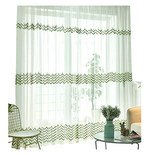 HooHero Sheer Curtainss Window Natural European Curtains Rod Pocket Geometry Stripe Embroidered Voile Draperies for Living Room Balcony Kitchen(2 Panels, W 100 x L 102 inch, Green)