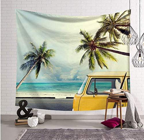 RKZM Tapiz Decoraciones de Pared Tropical Verano Playa Tapiz de impresión Palmier Palmera Colgante de Pared Alfombra Autobús Surf Tenture Mural Holiday Home Office Decoration 150 * 200Cm