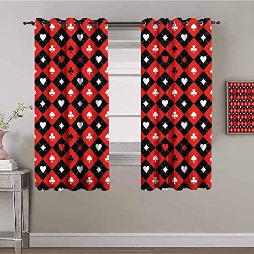 JYDFC Cortinas opacas para dormitorio con ojales, impresión digital 3D, cortinas perforadas, para sala de estar, dormitorio, cocina, guardería, 230 x 130 cm, diseño de cuadrícula roja