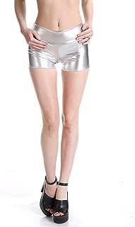 Ensnovo Womens Shiny Metallic Mid Waist Rave Booty Shorts