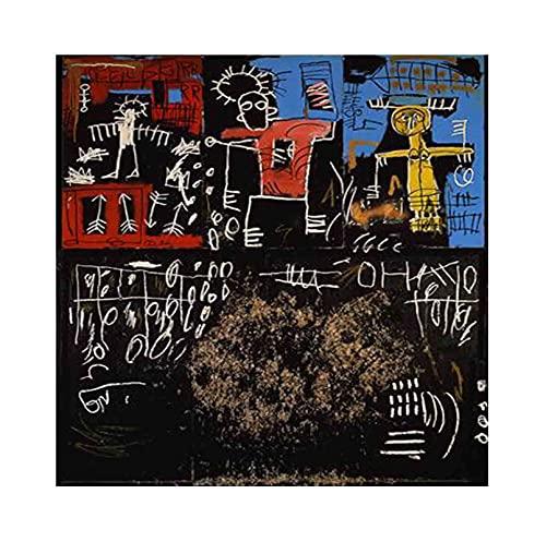 《Alquitrán negro y plumas》 Jean-Michel Basquiat Cuadro en Lienzo| Lienzos Decorativos | Cuadros Decoración Dormitorios | Cuadros Decoración Salón (30x30cm (12x12 inch), sin marco)