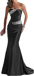 Women's Strapless Prom Dresses Mermaid Long Crystal Beaded Evening Dress