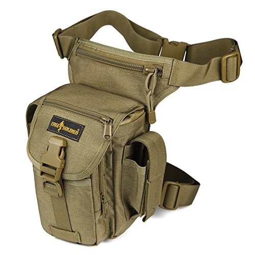 FREE SOLDIER Tactical Gota Bolsa de Pierna Panel Airsoft de Alta Bolsa de Utilidad, Wolf Brown