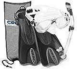Cressi Italian Collection Palau Adjustable Mask Fin Snorkel Set with Snorkel Gear Carry Bag, Titanio - M/L