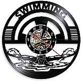 Reloj de pared de vinilo con diseño deportivo, para natación,...