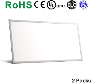 Dimmable 2'x4' Edge-lit LED Panel Light 2-Pack 50W, 6,500 Lm Driver Included, Frosted Lens, Recessed Mounting (Cool White (50W 5000K))