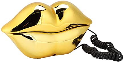 Vbestlife Gold Lips Telephone for Novelty Interesting Gift, Sexy Mouth Lip Corded Landline Phone Desk Phone Home Furniture... photo