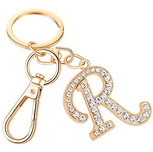 Giftale Women Rose Gold Plated Alloy Car Key Ring with Crystal Rhinestone Alphabet Initial Letter Keychain Size L,Letter R