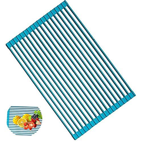 Estante multiusos enrollable para secar platos antideslizante con revestimiento de silicona de acero inoxidable para fregadero, apto para lavavajillas, fácil de limpiar y almacenar (azul)
