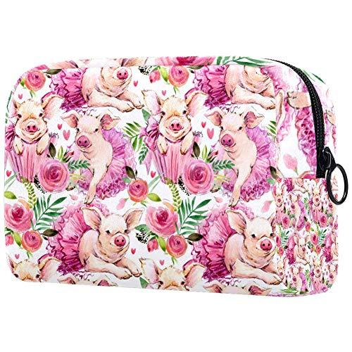 Make-up tas toilettas voor vrouwen Ping met roze rokken en bloemen huidverzorging cosmetische handige zak rits handtas