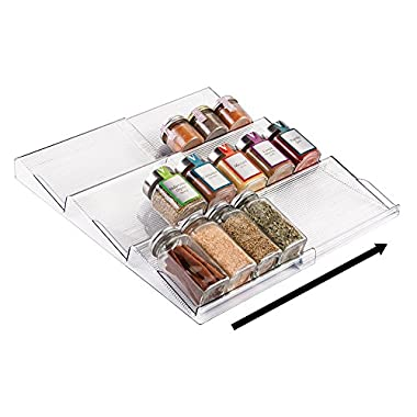 mDesign Adjustable, Expandable Spice Rack Drawer Organizer Tray Insert for Kitchen Cabinet Drawers - 3 Slanted Storage Shelves - Garlic, Onion, Cinnamon, Salt - BPA Free, Food Safe - Clear