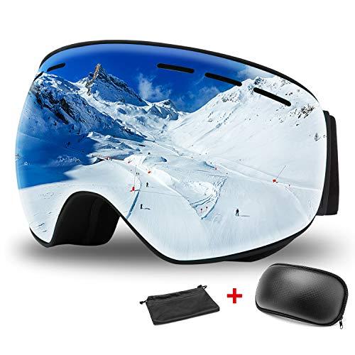 WOTEK Gafas de esquí, Antivaho, Lentes Dobles protección UV, Gafas a Prueba de Viento para Deportes de Invierno, esquí, Patinaje, portadores de Gafas, Gafas Esquí Snowboard para Mujer Hombres(Plata)