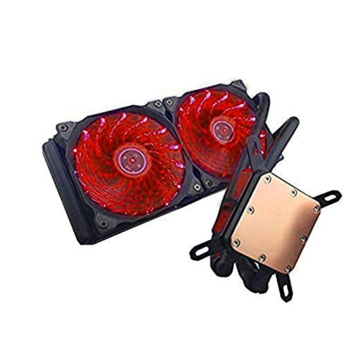 upHere Technology All-in-One High Performance Liquid CPU Cooler with Dual Adjustable 120mm PWM Fan,Red LED