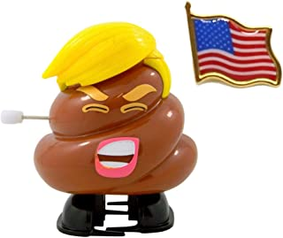 President Donald Trump Poop Emoji Candy Dispenser and American Flag Pin Bundle by Needzo
