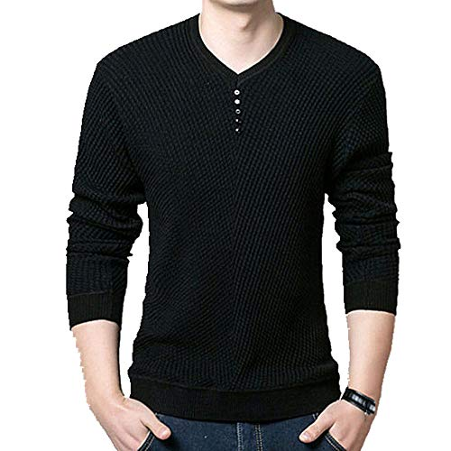 N\P Sweater Men Casual Button V-Neck Pullover Shirt Spring Autumn Slim Fit Long Sleeve Knitted Soft Black