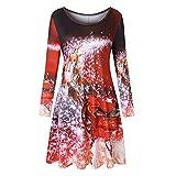 VEMOW Heißer Elegante Damen Abendkleid Vintage Weihnachten Santa Gedruckt Kostüm A-Line Lose Beiläufige Tägliche Party Schaukel Kleid(X2-Rot, 42 DE / 2XL CN)