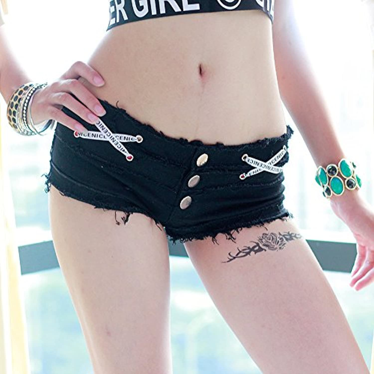 Summer Cowgirl Shorts Hot Pants Europe And America Ultra Short Nightclub Black And White