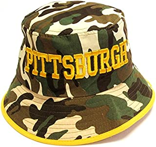 EAS Pittsburgh City Camo Bucket Golf Fishing Sun Hat Cap Embroidered Text Logo