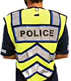 FIRE NINJA - Ultrabright Safety Police Vest | Class 2 Reflective - High Visibility - Double Breakaway Zipper (Blue, Oversize)