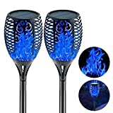 """EOYIZW Solar Torch Light with Flickering Flame Outdoor Decor, 43"""" 2 Pack Premium 99 LEDs Flickering Solar Flame Torch- IP65 Waterproof LED Solar Tiki Torches Flame Lamp for Yard Patio Garden"""