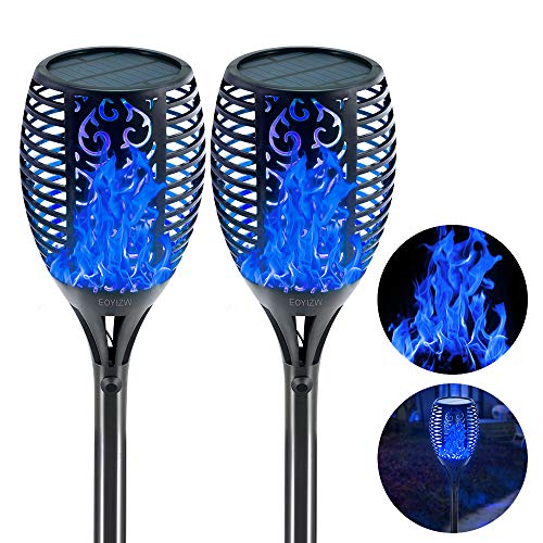 "EOYIZW Solar Torch Light with Flickering Flame Outdoor Decor, 43"" 2 Pack Premium 99 LEDs Flickering Solar Flame Torch- IP65 Waterproof LED Solar Tiki Torches Flame Lamp for Yard Patio Garden"