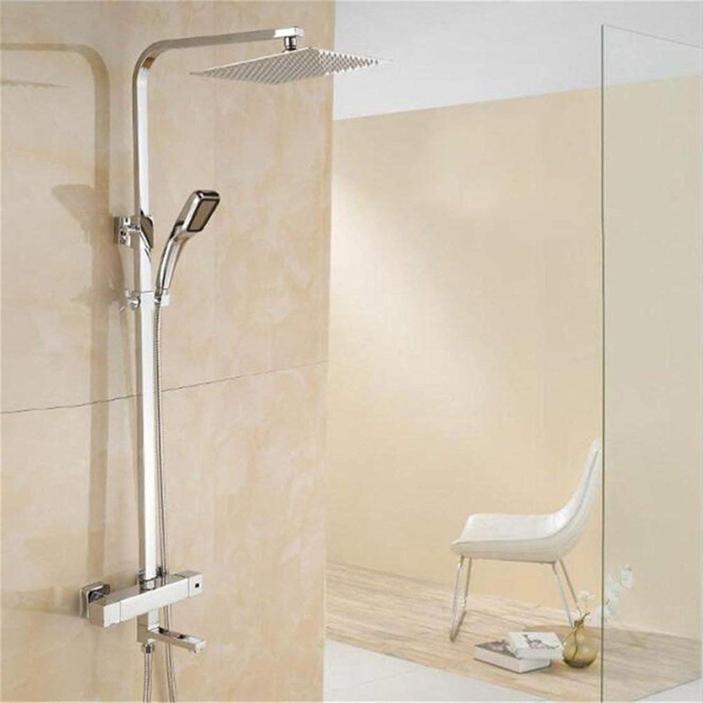 FuweiEncore Duschset Thermostat Alle Kupfer Duschen Sprinkler Multifunktionale Handheld Square Booster Badezimmer Feste Halterung Bad (Farbe   -, Gre   -)
