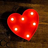 ODISTAR LED Marquee Lights Heart Shaped LED Plastic Light Up Sign for Night Light Wedding Birthday Party Battery Powered Christmas Lamp Home Bar Decoration