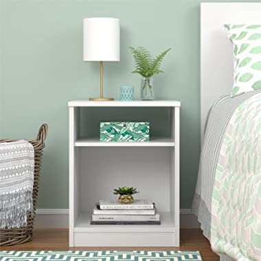 Mainstays Nightstand Features Open Top Shelf and Bottom Cubby, White
