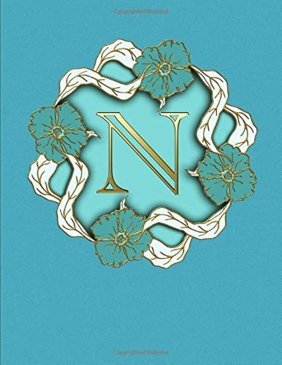 クラシカル気取らない出費N. Monogram Initial Letter N Cover. Blank Lined College Ruled Notebook Journal Planner Diary.