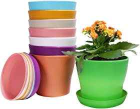 Alotpower Plastic Planters Indoor Flower Plant Pots, Set of 8 Modern Decorative Gardening Containers for All House Plants,...