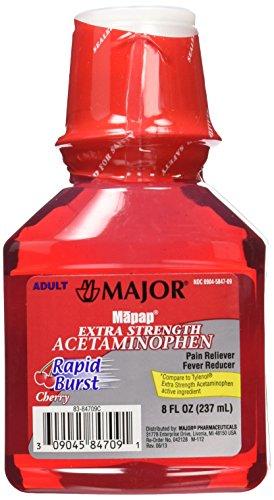 MAJOR Mapap Adult Rapid Extra Strength Acetaminophen Liquid Medication, Burst Cherry, 8 Fl. Oz, 3 Count