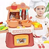 SUPER-ELE Kids Kitchen Playset,Mini Cooking Food Toys,Miniature Pretend Playset with Sound Light,Toys Oven & Kithcen Accessories for Boys Girls Toddlers Birthday Christmas Thanksgiving (Pink)