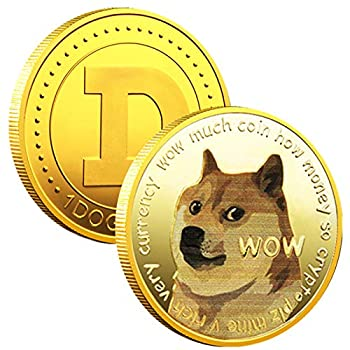 1PCS Gold Dogecoin Commemorative Coin Gold Plated Doge Coin Limited Edition Collectible Coin with Protective Case