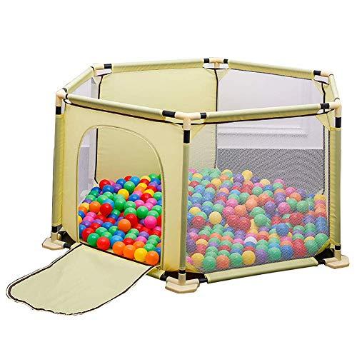 LXDDP Parc d'enfant sécurité Parc d'enfant, Parc d'enfant d'hexagone Anti-Renversement avec la Porte, séparation Jaune pièce d'enfant, 150 × 68cm, Aucune Boule