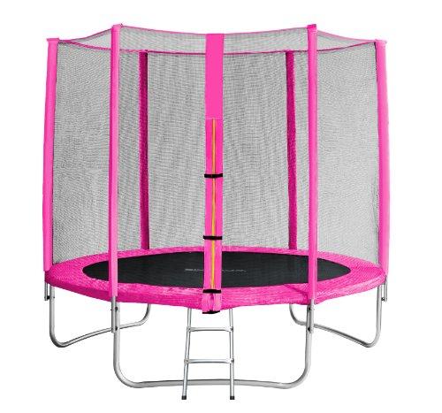 SixBros. SixJump 2,45 M Trampolín Cama elástica de jardín Fucsia - Escalera - Red de Seguridad - Lluvia Cobertura TP245/1610