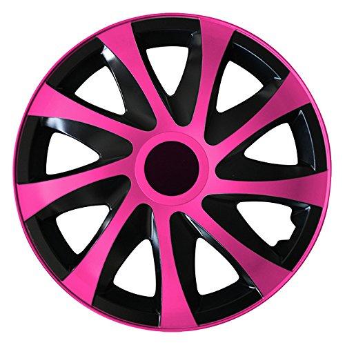 (Größe wählbar) 14 Zoll Radkappen / Radzierblenden DRACO Bicolor (Schwarz-Pink ) passend für fast alle Fahrzeugtypen – universal