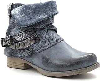 93a0cb510b92 Angkorly - Chaussure Mode Bottine Motard Cavalier Femme Peau de Serpent  lanière clouté Talon Bloc 3